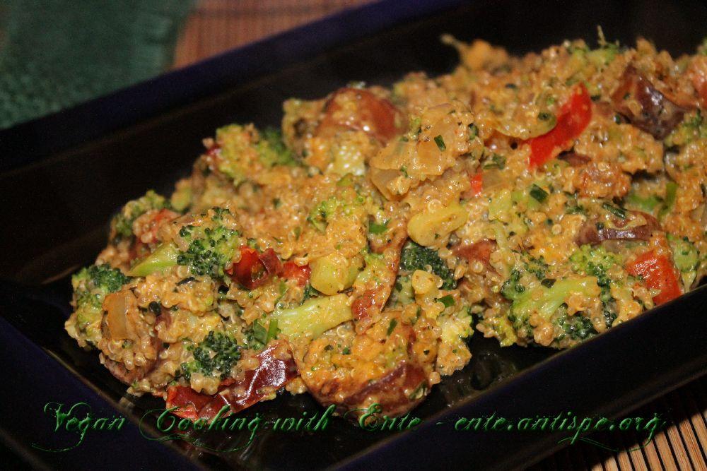vegan kochen mit ente brokkoli wuerstchen quinoa pfanne. Black Bedroom Furniture Sets. Home Design Ideas