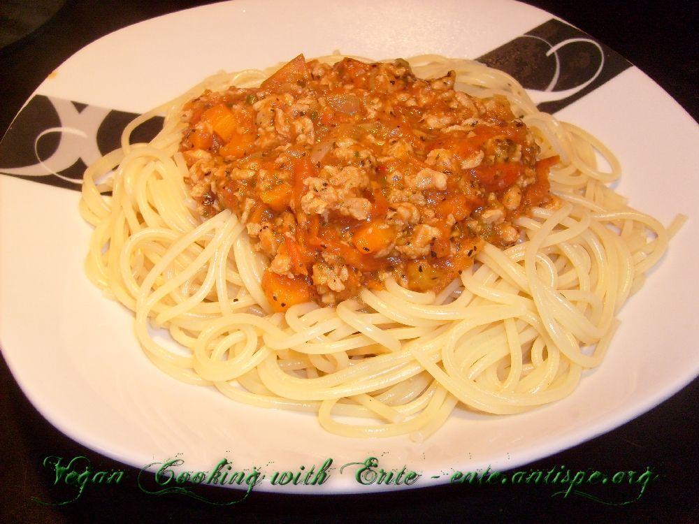 vegan kochen mit ente spaghetti bolognese. Black Bedroom Furniture Sets. Home Design Ideas
